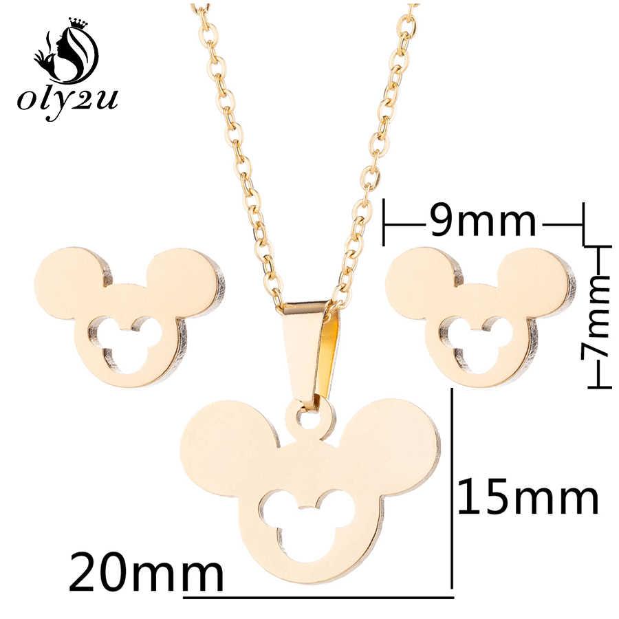Oly2u Mickey ชุดสร้อยคอสำหรับผู้หญิงต่างหูสร้อยคอเครื่องประดับชุดเมาส์ Mickey สร้อยคอ Choker ชุดเครื่องประดับต่างหู