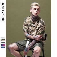 LA INFLACIÓN 2017 Colección Primavera Verano Tela de Camuflaje Personalizado Hombres Camiseta Streetwear Camo Camiseta de Hip Hop de Moda Para Hombre de La Camiseta