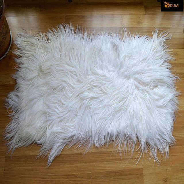 1piece Free Shipping 110x55cm Fashion White Color Long Hair Genuine Mongolian Goat Leather Goatskin Fur Rugs