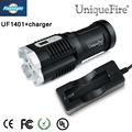 Powerful Uniquefire 1401 XM-L2 Flashlight  4*LEDs 4000LM 5 Modes Digital Display Strong Torch Light+Charger For Camping