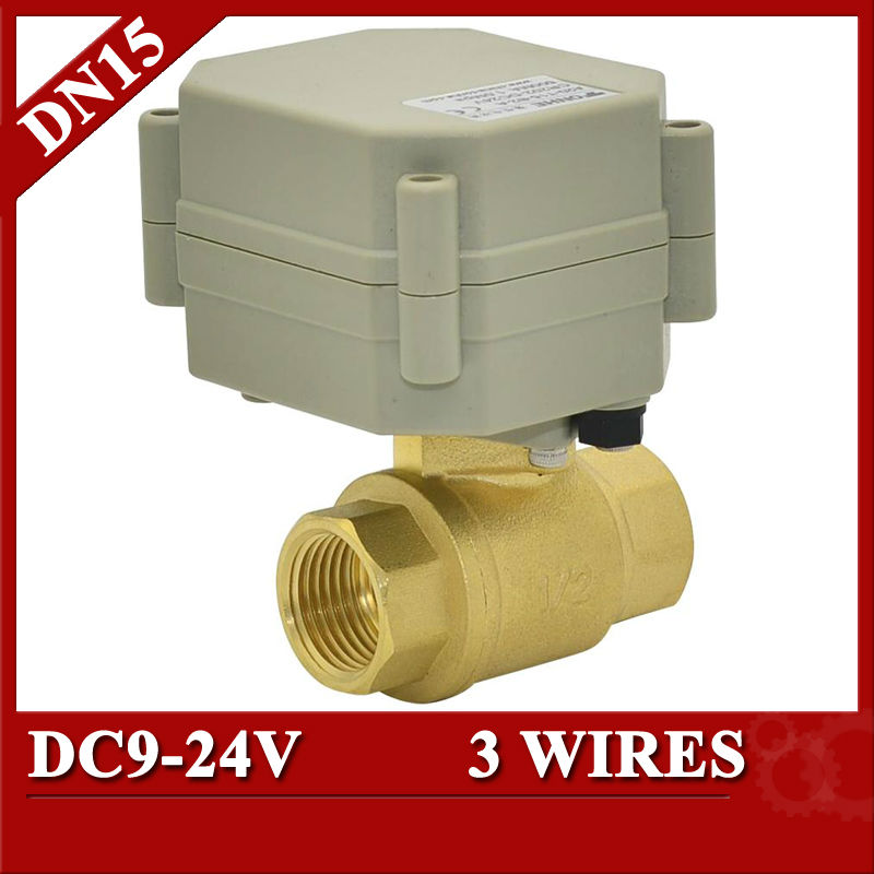 1/2'' Electric Ball Valve 3 Wires BSP/NPT,  DN15 Brass Motorized Valve with indicator mini brass ball valve panel mountable 450psi with lever handle chrome plated malexfemale npt