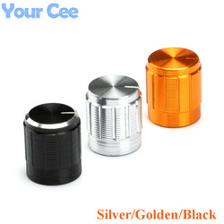 Mini botones del potenciómetro de aleación de aluminio, tapa de 15x16,5mm, dorado Negro plateado, 10 Uds. * 3 para potenciómetro, 30 Uds.