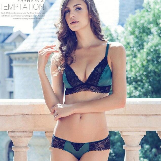 Luxury Sexy Ultra-thin women Softe Wireless Bralette Lace Bra Set Panties Lingerie  Free Shippingyw051 1031b831c