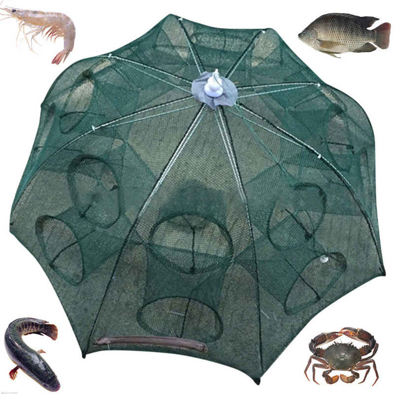 Fishing Net 4-16 Holes Automatic Folding Fishing Net Shrimp Cage Nylon Foldable Crab Fish Trap Cast Net Cast Folding Fishing A1