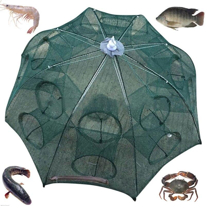 Rete da pesca 4-16 Fori Automatico Pieghevole Pesca Gabbia Netto Gamberetti Nylon Pieghevole Crab Fish Trap Cast Net Cast Pesca Pieghevole A1