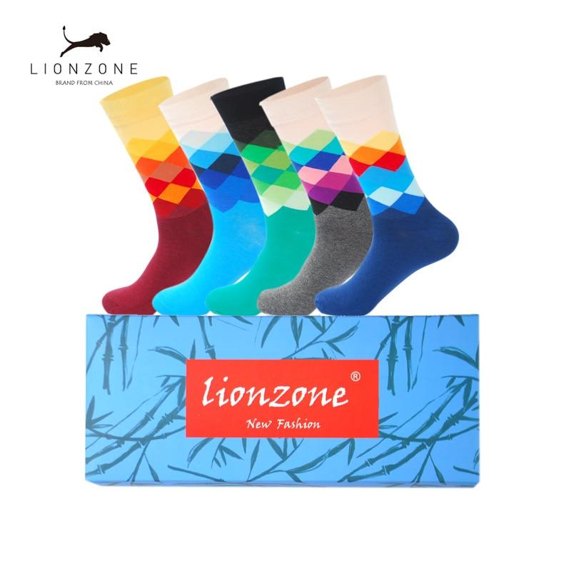 5Pairs Men Gradient Socks Combed Cotton Diamond Pattern Colorful LIONZONE Skateboard Fashion Man Socks