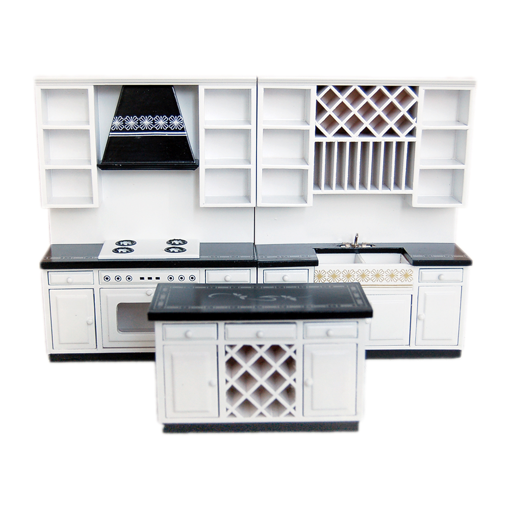 1:12 Dollhouse Miniature Kitchen Cabinets Set Wood Furniture Basin Stove Counter #WD025
