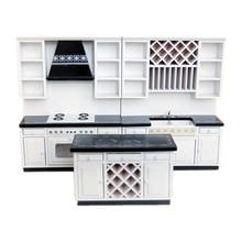 1:12 Poppenhuis Miniatuur Keuken Kasten Set Houten Meubelen Basin Kachel Teller # WD025