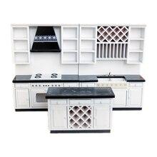 1:12 دمية مصغرة خزائن المطبخ مجموعة أثاث خشبي حوض موقد عداد # WD025