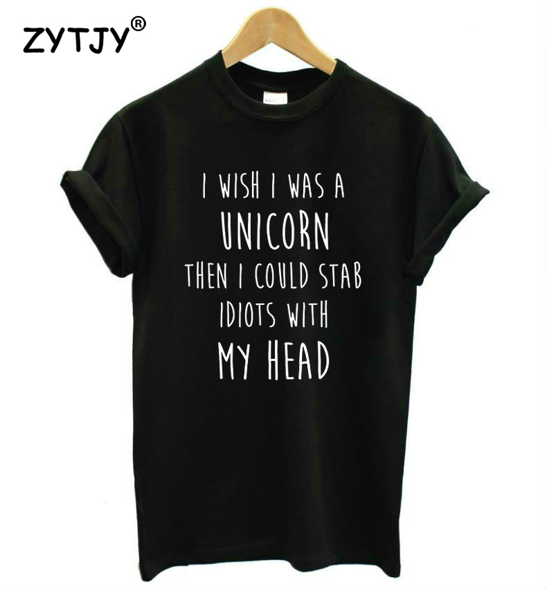 I WISH I COULD BE A UNICORN Print Women tshirt Casual Cotton Hipster Funny t shirt For Girl Top Tee Tumblr Drop Ship BA-103