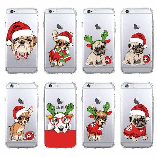 Para o iphone 7 7 Plus 6 6 S Plus 5 5S 8 8 Plus X XS Max pug Filhote de Cachorro Natal chapéu de Papai Noel Cap Moda TPU Macio Impresso Tampa Da Caixa de Telefone