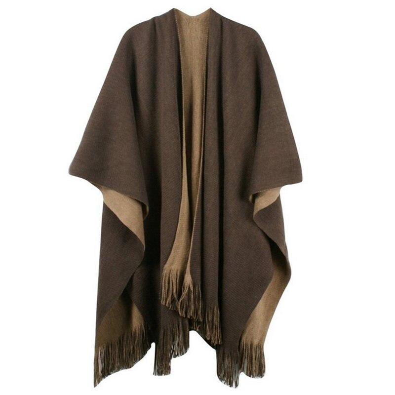 Womens Ladies Grey Black One Size Knit Woolly Pattern Poncho Cape Shawl Cardigan