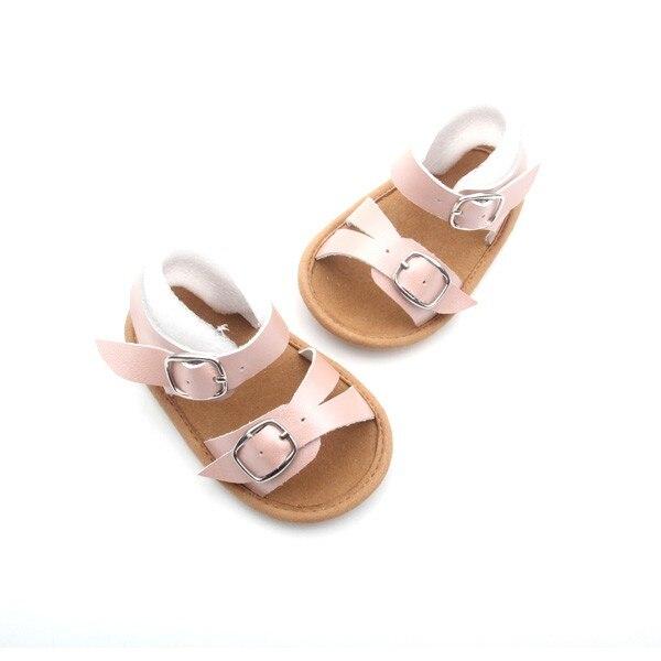 6b85b8659f46e 300 paires Bébé grils sandales En Cuir Véritable semelle en caoutchouc  crochet et boucle chaussures d été pour enfants Filles anti slip bébé  chaussures dans ...