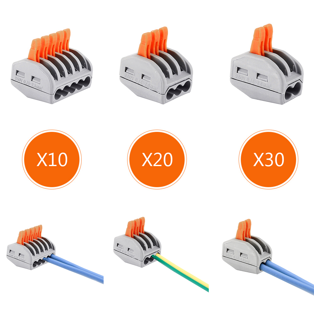 60X 2 3 5 pin Terminal Clamp Compact Wire Wiring Universal Compact Wire Wiring Connector Conductor Terminal Block 100pcs high temperature ceramic terminal block wiring terminal block wiring wire connector 10a diy lighting amphenol connector