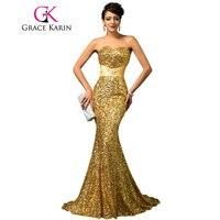גרייס קארין נשים יוקרה זהב נצנצים סטרפלס בת ים שמלת הערב אדום Abendkleider ארוך רשמית אירוע מיוחד 2018