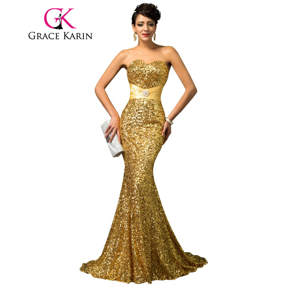 Grace Karin Mermaid Evening Dress Red Gold Sequin Strapless Luxury Women Abendkleider Long Formal Special Occasion