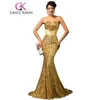 High Quality H4409 GK Gold Sequins Strapless Mermaid Elegant Evening Dresses Luxury Women Long Formal Dress