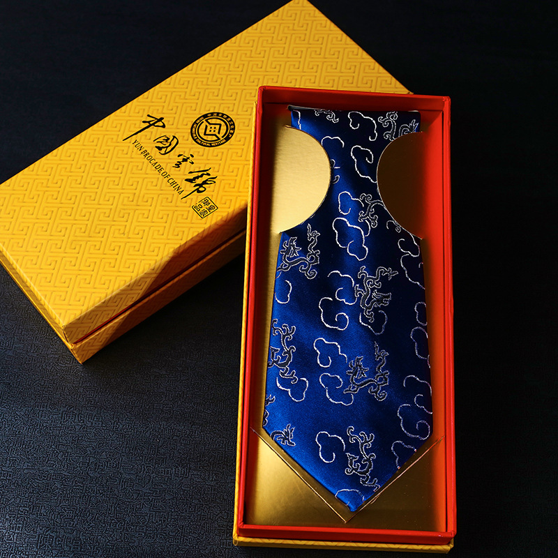 Hot Sale Male Yunjin Tie Traditional Chinese Style Dragon Casual Neckties High Quality New Year Gift Box Classic Wedding Tie
