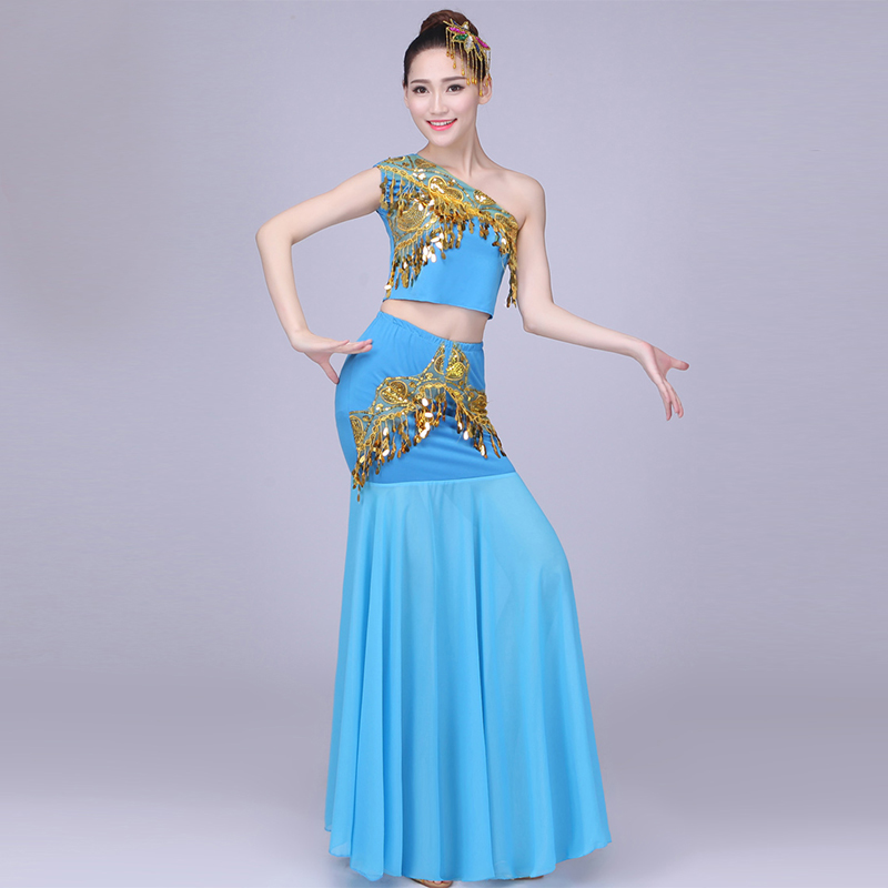 Chinese Folk Dance Children Dai Dance Clothing Peacock Belly Dance Costumes For Girls Kids Fishtail Indian Traditional Costume