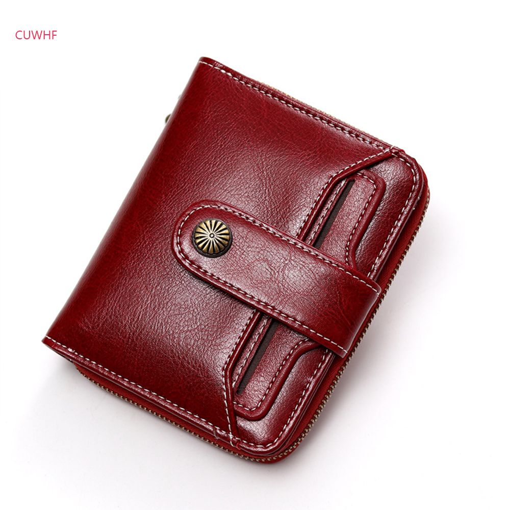 Fashion buckle Genuine Leather Women's Purse Short paragraph Ladies Money Bag Zipper Coin Wallet Card Holder Travel Wallet trendy see through off the shoulder long sleeve lace blouse for women