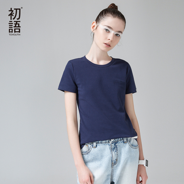 Toyouth 2017 New Arrival Women Summer T-shirt Casual O-Neck Solid Base Shirt Female Patch Cotton Top
