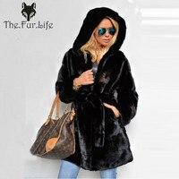 2018 Luxury New Real Mink Fur Coat Long For Women Warm With Hood Winter Mink Fur Jackets Hooded With Belt Wholesale