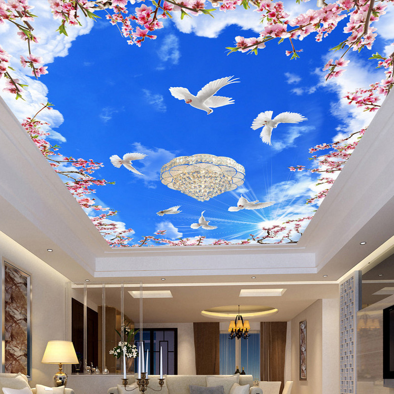 Custom Photo Wallpaper Ceiling 3d Blue Sky White Clouds