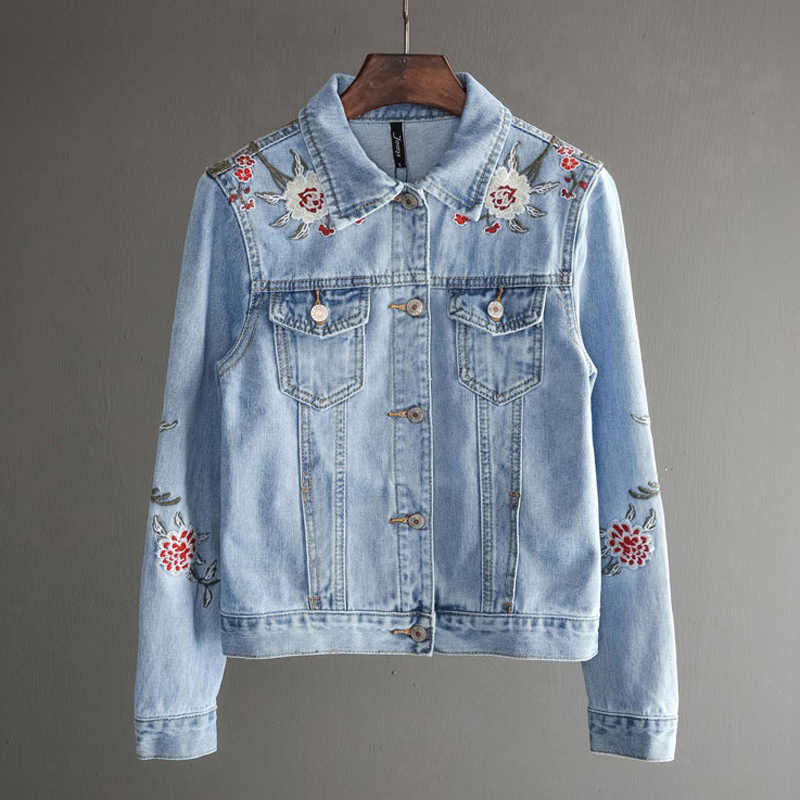 b88ec4caea8fc Women Slim Flowers Embroidered Long Sleeve Turn Down Collar Denim Jacket  Women s Jeans Coat