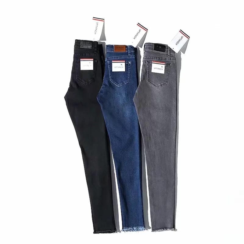 2019 Women Jeans Ankle-Length High Waist Elastic Skinny Pencil Pants Denim Trousers Fit Spring Lady Slim Jeans Black Grey