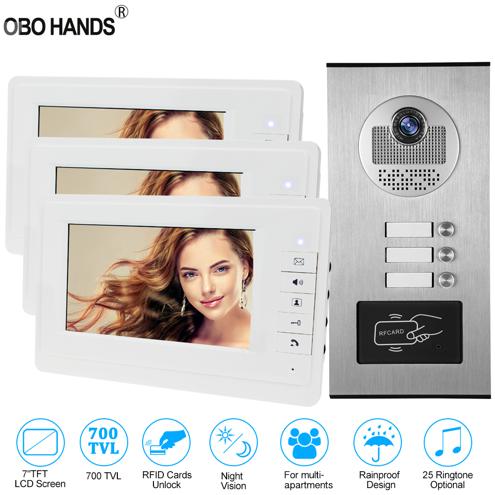 Upgraded 7'' Wired Video Door Phone Intercom System RFID Access Entry Camera Door Bell 2 Monitors Multi- Apartments/Family/Home