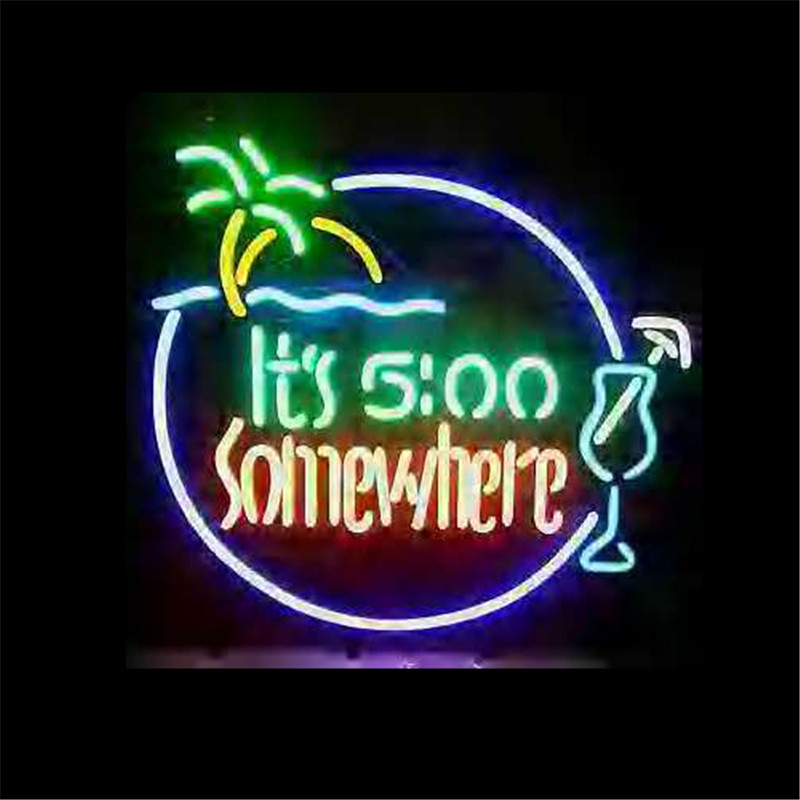 """NEON SIGN ForITS 500 SOMEWHERE  Signboard REAL GLASS BEER BAR PUB  display  christmas Light Signs 17*14""""