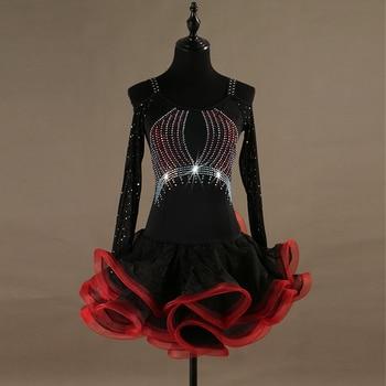 Svitania Latin Dance Dress Women Ladies Long Sleeve Rhinestone Bling Dancewear Salsa Samba Dance Latin Salsa Dresses