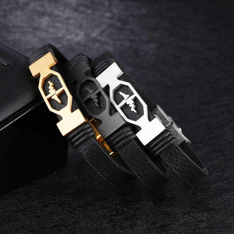 Bicie serca kształt bransoletki ze stali nierdzewnej i bransolety moda skórzane bransoletki dla mężczyzn biżuteria prezent (BA102270)