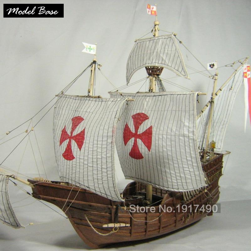 Modello di Nave in legno Kit Treno Modello Hobby-Legno-Barche 3d Laser Cut Scala 1/50 Model-Ship-montaggio Fai Da Te Educational Santa Maria1492