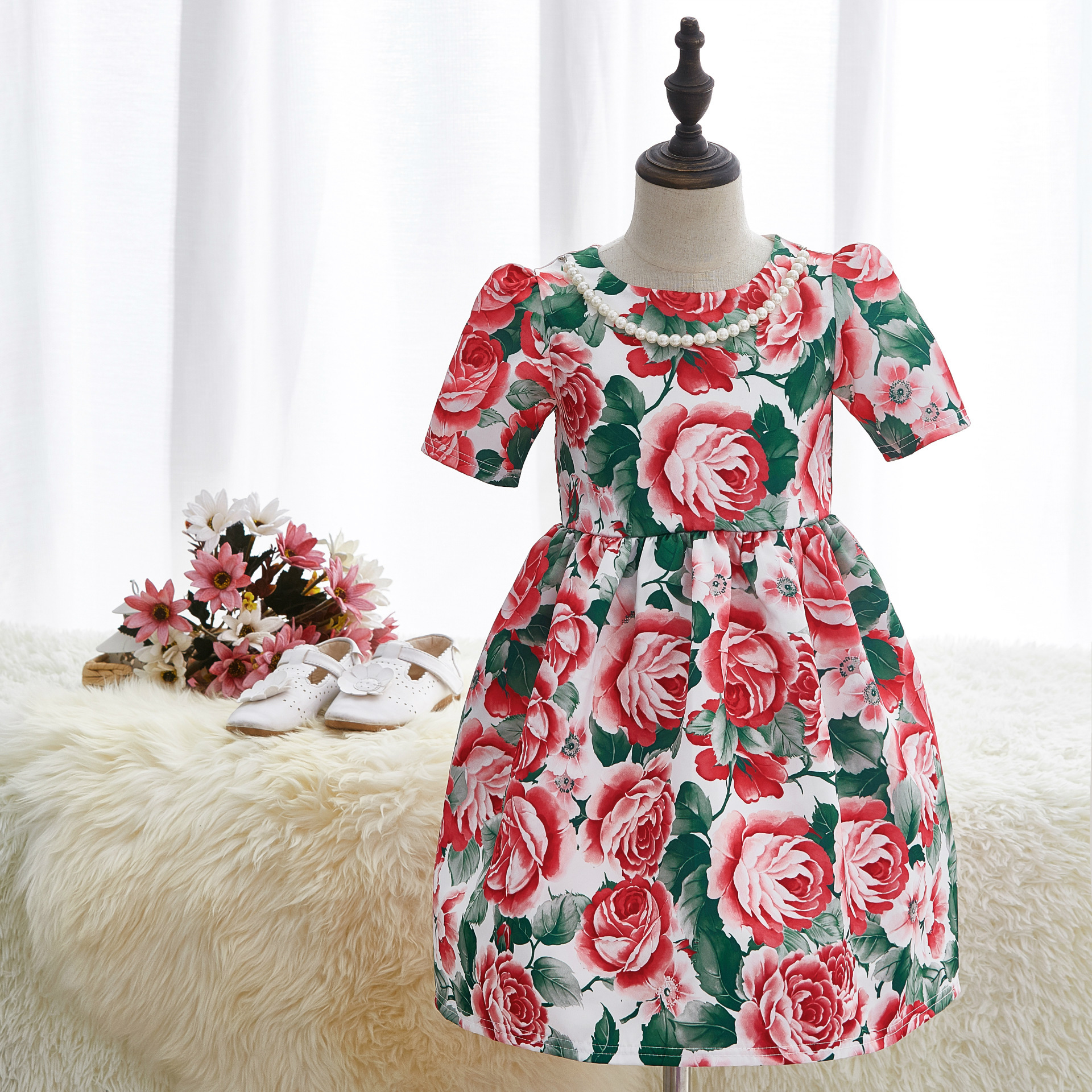 2017 New Girls Dress Cotton Jacquard Summer Spring Children Princess Tutu Dresses European American Lovely Baby Party Girl Dress new arrival children s dress summer spring fall girl princess dress 100% cotton short sleeves girls dress 4 9y