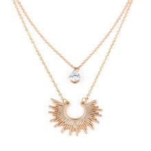 Fashion Double layer Fans Pendants Rhinestone Summer Girls Woman Clavicular Chain Short Necklace Jewelry Holiday-YYF