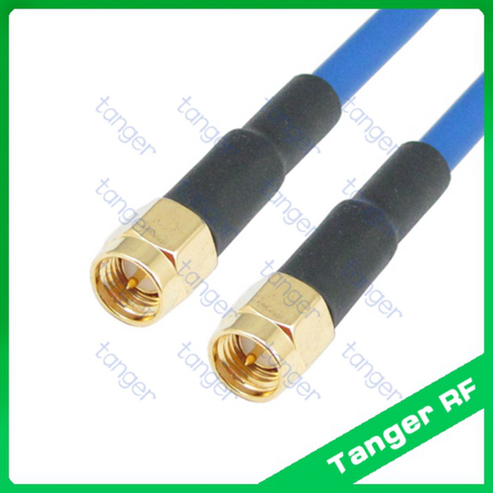 Tanger SMA male to male plug straight connector with RG402 RG141 RG-402 Coaxial Jumper Blue cable 20inch 50cm Semi Flexible Coax цена