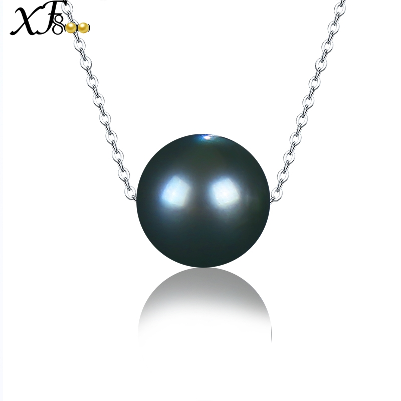 XF800 18k White Gold Pendant Necklace Natural Black Tahitian Pearl Jewelry Luxury Fine Wedding Party Gift For Women XFD237 yoursfs heart necklace for mother s day with round austria crystal gift 18k white gold plated