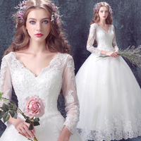 New Winter Arrival Luxury Lace Sexy V Neck Crystal Princess Wedding Dress Free Petticoat 608