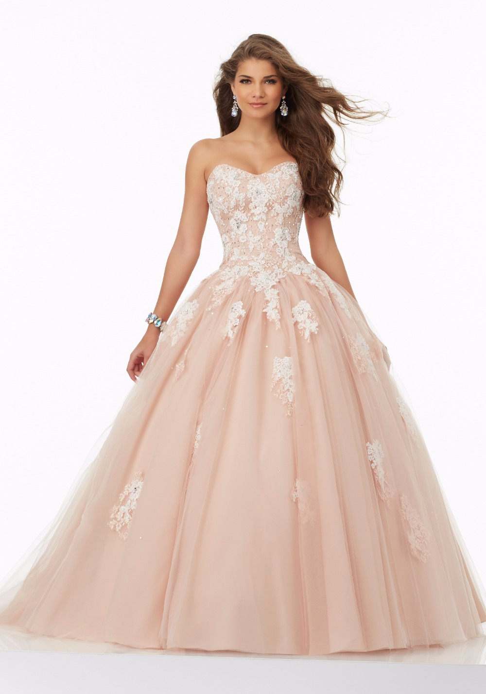 Champagne Black Nude Ball Gown 2017 Long Prom Dresses -9327