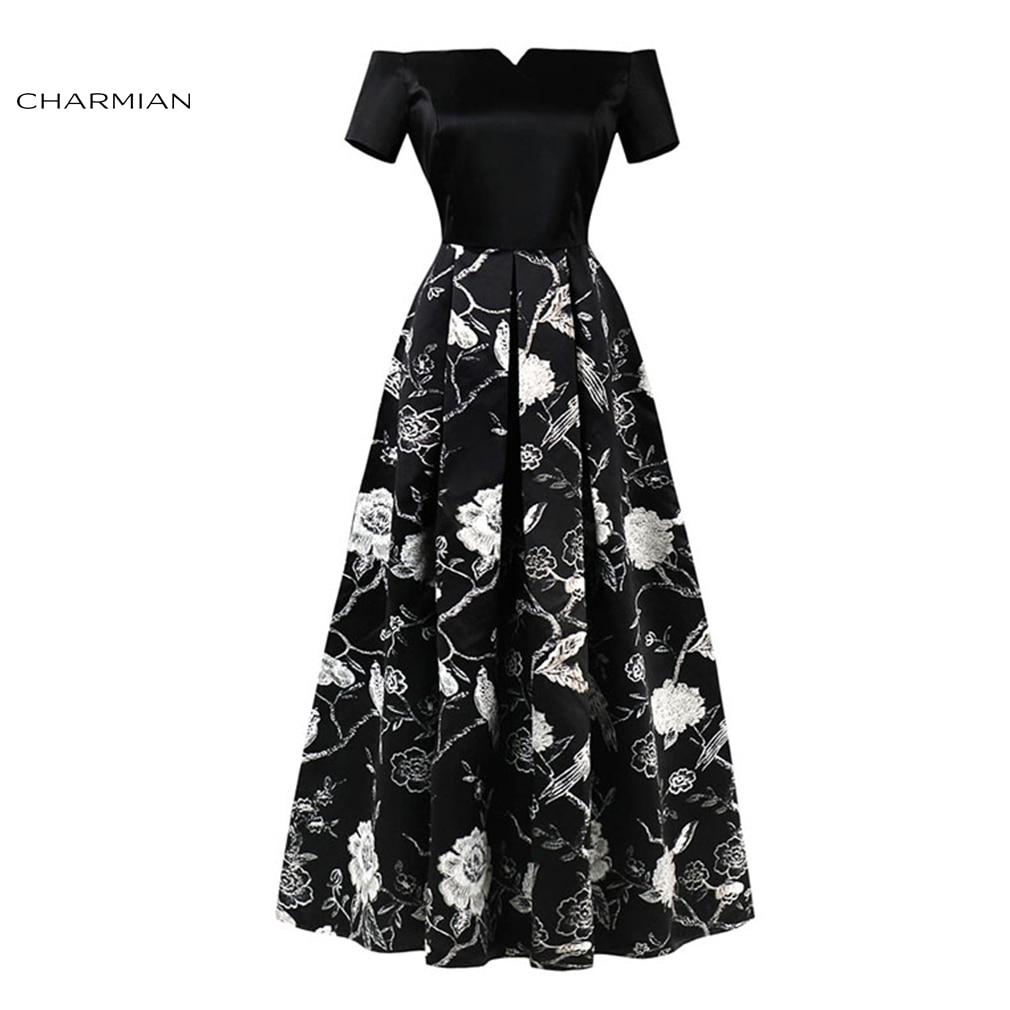 Charmian Women s Summer Plus Size Sexy Elegant Off Shoulder Dress Wedding  Party Pleated long Evening Black 43d40a7677a6