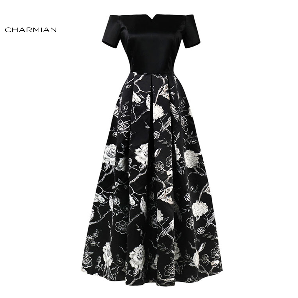 Charmian Women's Summer Plus Size Sexy Elegant Off Shoulder Dress Wedding Party Pleated long Evening Black Dress Vestidos
