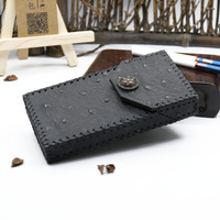 Ultra Thin Fashion Pipes Ostrich Pattern Personality Cigaret Case Slim Cowhide Clamshell Exquisite Gift Box Cigarette Holder Box
