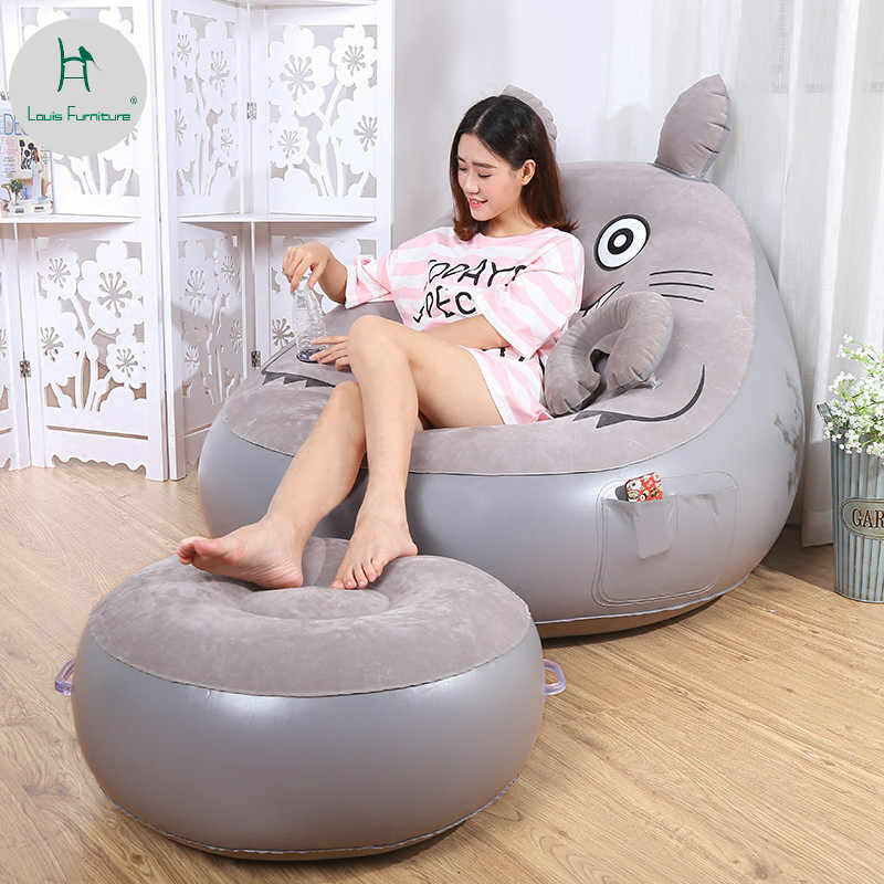 Louis Fashion Beds Lazy Person Single Person Inflatable Bedroom Cute Chair Lunch Break Fashion Air Cushion Sofa Chair