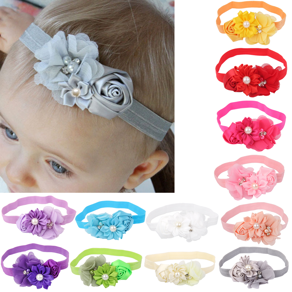 New Arrival Solid  Newborn Toddler Kids Baby Knitting Infant Girl Hairband Flower Decor Photography Props Born