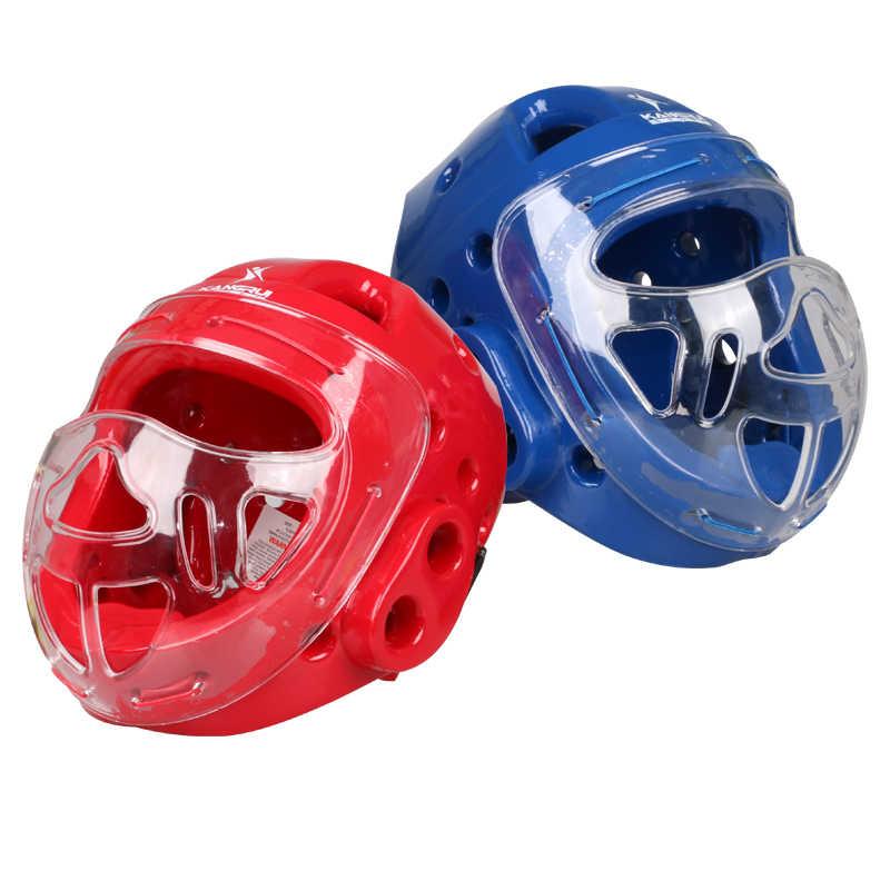 Karaté MMA boxe sanda taekwondo muay thai Sparring Head Gear saco de boxeo casque de kickBoxing casque de protection du visage-rouge bleu