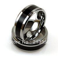 Cheap Price Free Shipping USA Hot Selling 8MM Beveled Silver Tungsten Ring With Black Resin Inlay Mens' Wedding Band Ring