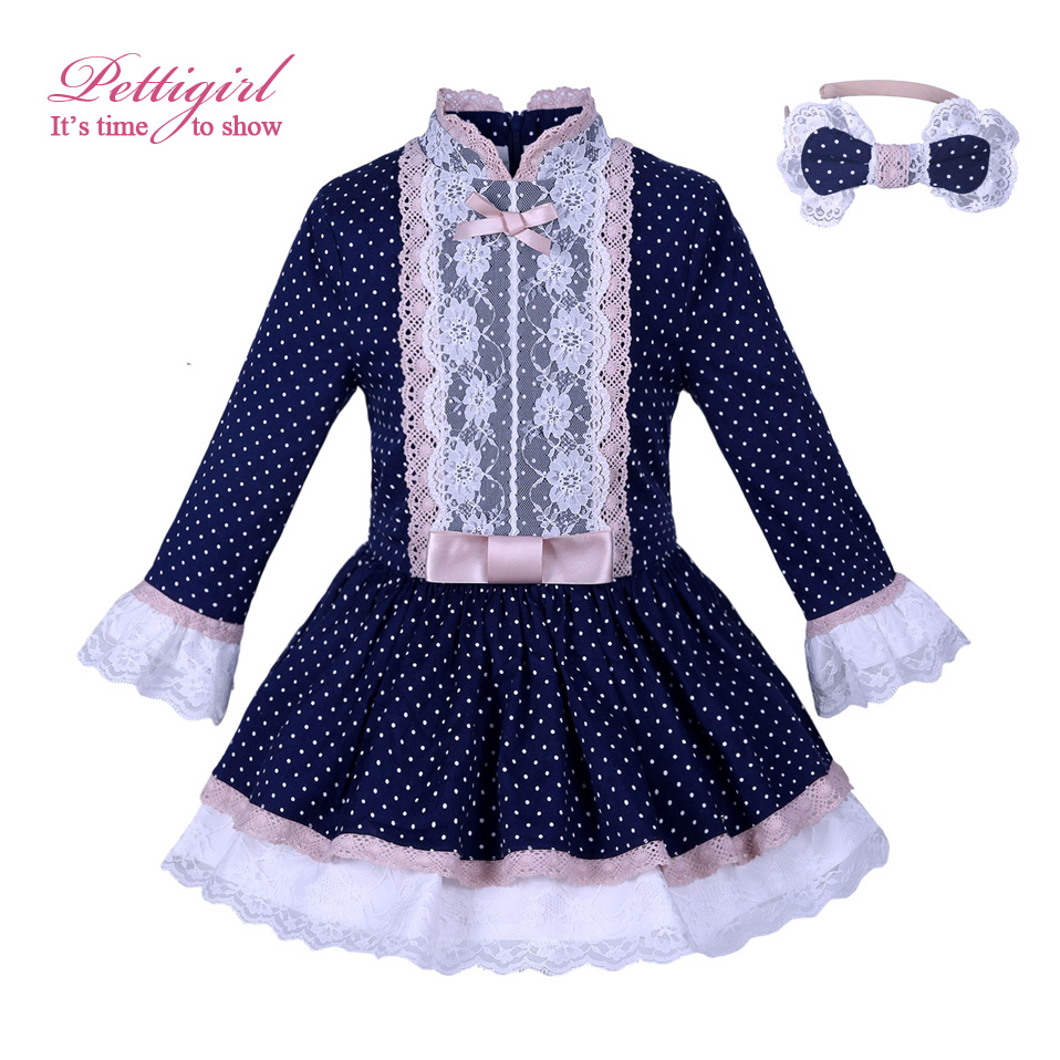 Pettigirl Boutique Navy Dot Girl Dresses Girls Princess Dresses Lace Cuff With Headwear Children Clothes For