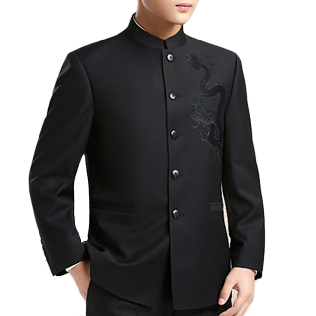 Dragon Embroidery Men Chinese Style Suit Jacket Mandarin Collar New 2019 Tunic Suit Jackets Mens Kung Fu Coat Black 1