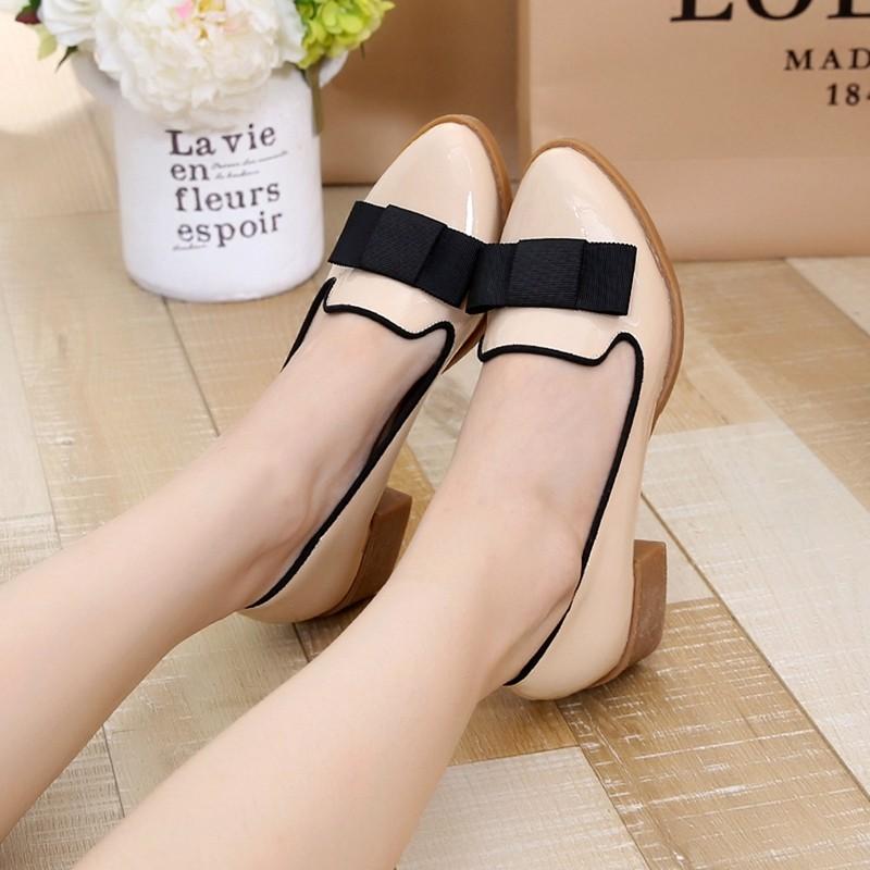 Sweet Bowtie Patent Leather Pumps Round Roe Women\'s Platform Elegant Thick High Heel Shoes Plus Size 34-40 Slip-on High Heels (5)